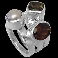 Gemstone and Sterling Silver Stacking Rings - Sterling Silver Stacking Rings