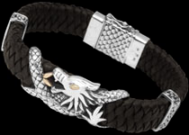 Silver and Leather Dragon Bracelets