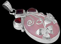 Garnet and sterling silver pendants